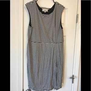 Stripped faux wrap dress